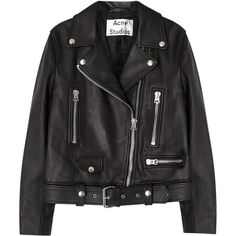 Acne Studios Mock black leather biker jacket (5 085 PLN) ❤ liked on Polyvore featuring outerwear, jackets, tops, coats & jackets, asymmetrical zip jacket, leather biker jackets, acne studios, leather moto jacket and asymmetrical zipper jacket