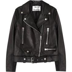 Acne Studios Mock black leather biker jacket ($1,315) ❤ liked on Polyvore featuring outerwear, jackets, tops, coats & jackets, 100 leather jacket, motorcycle jacket, real leather jackets, asymmetrical zipper jacket and genuine leather biker jacket