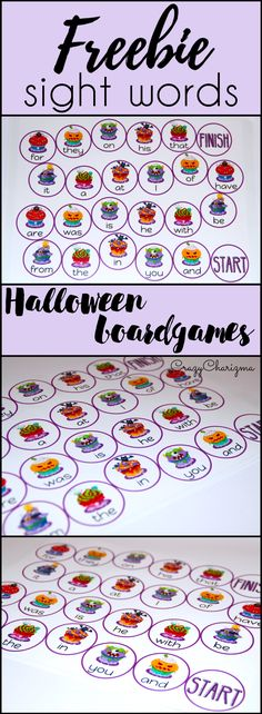 Use these Free Halloween Boardgames and practice FRY Sight Words with your kids. | CrazyCharizma