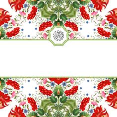 Paper - Frame - Background - Red Flowers