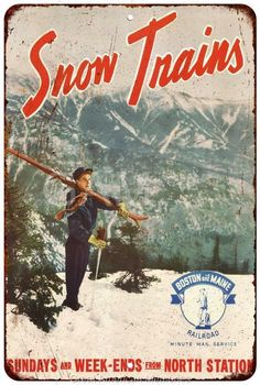 Snow Trains North Station Vintage Look Reproduction 8x12 Metal Sign 8120936