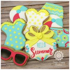 Hello, Summer!  sugar cookies, summer themed cookies, swimsuits, beachballs, wet on wet royal icing