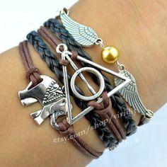 Antique silver Elephants bracelet Harry potter by vividiy on Etsy, $4.99