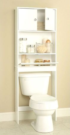 Add more shelving space to your small bathroom with over the toilet storage. Small Bathroom Organization, Bathroom Shelves, Wood Bathroom, Bathroom Cabinets, White Bathroom, Bathroom Bath, Bathroom Mirrors, Bathroom Ideas, Diy Organization
