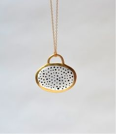 Image of Shield Necklace-White with Black Dots