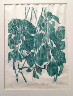 Hanging Prayer Plant, woodcut print on rice paper, Gesshel