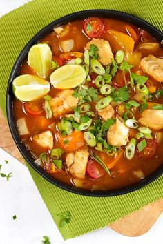 FISH STEW RECIPE - An Easy Healthy One Pot Dinner - This easy creamy Fish Stew recipe has a sweet creaminess that kids will love. Based on a Brazilian style recipe it's a really healthy tasty way to eat more fish. Easy Fish Recipes, Quick Dinner Recipes, Seafood Recipes, Soup Recipes, Healthy Eating Recipes, Vegetarian Recipes, Slow Cooker Chicken Curry, Pasta Dishes, Fish Dishes