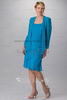 Blue Chiffon Knee Length Mother Of The Bride Dress For Beach Wedding Cms