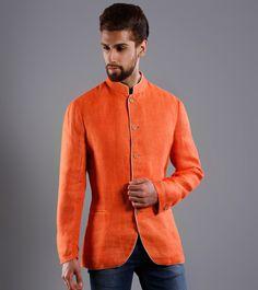 Orange Mesh Linen Jacket