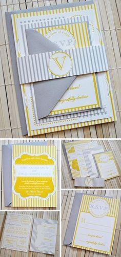 gray & yellow invitations