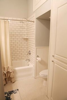 Love this small bathroom with the white subway tile, beadboard and update sink. From the HGTV show, Fixer Upper.