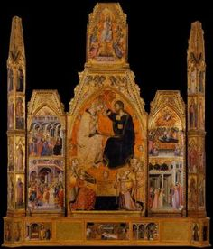 BARTOLO DI FREDI The Coronation of the Virgin 1388 Tempera on panel, 332 x 279 cm Museo Civico e Diocesano d'Arte Sacra, Montalcino The polyptych of the Coronation of the Virgin, signed and dated 1388 by Bartolo di Fredi, was executed for a chapel in the church of San Francesco in the town of Montalcino to the south of Siena. The painter appears to have had a number of other connections with Montalcino, both as an agent for the Sienese government (in 1375 and 1376)