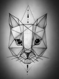 Resultado de imagem para cat geometric tattoo dotwork color