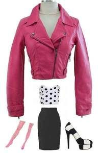 Pink Vegan Faux Leather Fitted Cropped Motorcycle Jacket oooh love it