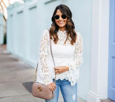 haute off the rack, white lace crochet top, distressed jeans, gg marmont matelasse shoulder bag, rayban round sunglasses, steve madden, ava sandals, womens fashion, womens handbag, spring style, julie vos jewelry, http://liketoknow.it app, white statement top, spring outfit, gucci handbag