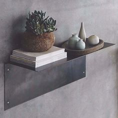 "Bent iron shelves, candle holders, and a hook are crafted in a style we like to call ""soft industrial"" and finished with a rich gun-metal finish. Glass Shelves Ikea, Glass Shelf Brackets, Glass Shelves Kitchen, Metal Shelves, Floating Shelves, Mounting Brackets, Shelving, Small Shelves, Kitchen Cabinets"