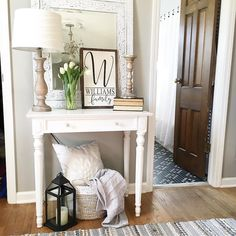 So there's this small wall between our master bath and closet that's been empty since we've lived here because I just didn't have anything… Small Entry Tables, Small Entryway Decor, Small Entryways, Decoration, Living Room Decor, Sweet Home, New Homes, Foyer, Furniture