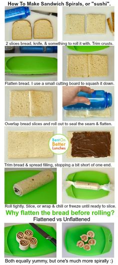How To Make Sandwich Spirals/Sushi--BentOn Better Lunches (great source of ideas for creative lunches for kids of all ages)