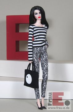 """https://flic.kr/p/zeVTBe   OOAK Doll Outfit """"Contrast""""   - striped top, without closure - printed trousers with pockets, to close with a tiny button in front - fully lined bag made of fake suede"""