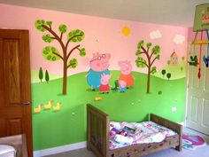 Peppa Pig themed room painted in one week. This wall features Peppa and her family.
