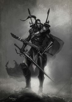 eldar monochrome portrait savier striking_scorpion sword