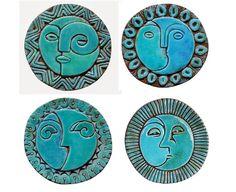 Arte de pared Sol y Luna hecho de cerámica - arte exterior - decoración de jardín - arte sol y luna - azulejo artesanal redondo - x4 - turqu