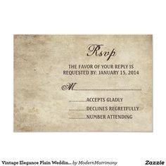 Vintage Elegance Plain Wedding RSVP card