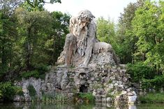 Florence Italy-Appennine Colossus at Villa Demidoff, an elegant villa with a beautiful garden where a majestic 16th-century statue representing the Apennine is hidden