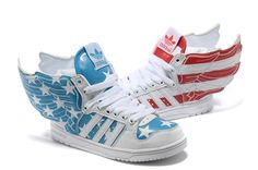 Adidas Jeremy Scott Wings USA Flag Shoes Red Blue I'm sure getting them soon!!!!