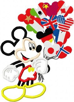 Mouse with epcot balloons applique design digital instant download 882