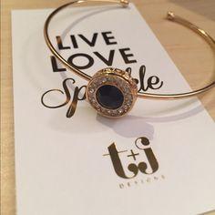 Black Jewel Crystal Cuff Black jewel Crystal cuff by T&J Designs. Nickel and lead free T&J Designs Jewelry Bracelets