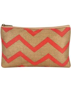 Pink and Gold Chevron Juco Cosmetic Bag