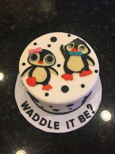 Penguin gender reveal cake