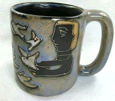 This is Art on a Mug! Mara of Mexico Pottery Coffee Mug Man Woman releasing doves birds handmade #MaraMexico #coffeemugart
