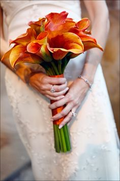 Orange Calla Lily Wedding Bouquet | her lace dress and carried a hand tied bouquet of orange calla lilies ...