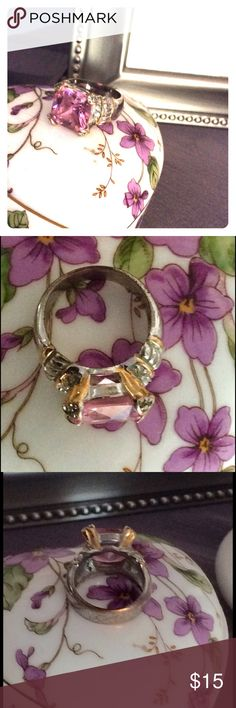 3a349fa7cf Two tone gold and silver ring with pink stone Gorgeous statement ring