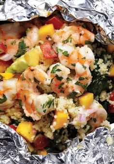 Shrimp With Avocado-Mango Salsa- with couscous and spinach-grill or bake foil packets in oven.