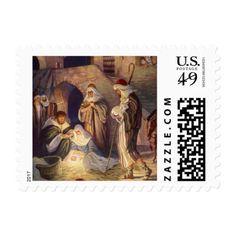Vintage Christmas, Three Shepherds and Baby Jesus Postage