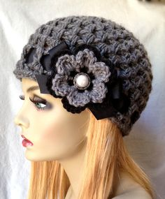 Crochet Hat, Charcoal Grey Womens Hat, Beanie, Crocheted Flower, Chunky, Warm. Teens, Winter, Ski Hat, Birthday Gifts for Her JE407BRF