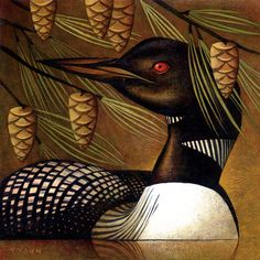 ON AIME ÇA -- loon and pinecones, ultimate canadian romance painting ! [ Bird by Sara Tyson ] Illustrations, Illustration Art, Aboriginal Art, Wildlife Art, Magazine Art, Bird Art, Beautiful Birds, Painting Inspiration, Pet Birds
