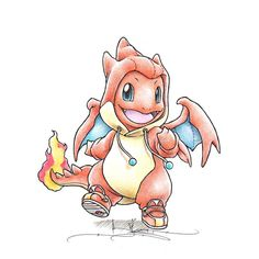 """When I grow up"" Charmander in a Mega Charizard Y onesie"