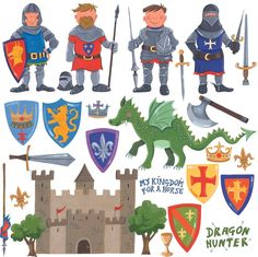 RoomMates Repositionable Childrens Wall Stickers - Knights And Dragon