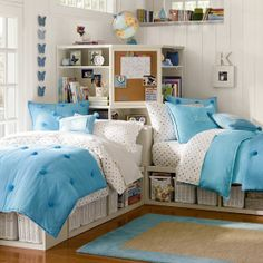 two twin beds with corner unit | Store-It Bed + Corner Unit Sets | PBteen
