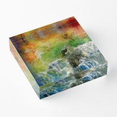 'Sunset Waterfalls' Acrylic Block by Faye Anastasopoulou Decorative Throw Pillows, Decorative Items, Home Office Accessories, Theme Pictures, Colourful Living Room, Fancy Houses, Framed Prints, Art Prints, Art Boards