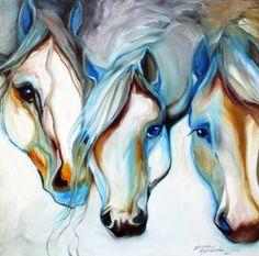 Amazon.com - 3 WILD HORSES in ABSTRACT (Giclee Art Print), Marcia Baldwin