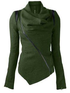 Stylish Cowl Neck Long Sleeve Zippered Women's Leather Trim JacketJackets   RoseGal.com