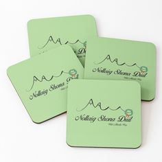 """Wild Atlantic Way Ireland Apparel - Nollaig Shona Duit"" Coasters (Set of by WildLunatic Kids Logo, Coaster Set, Mask For Kids, Sell Your Art, Gift Guide, Ireland, Holiday, Vacations, Holidays"