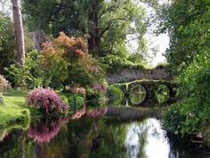 Stone bridge at Gardens of Ninfa - Rome