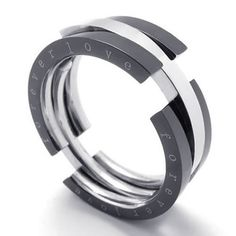 """KONOV Jewelry Transformable Stainless Steel Mens Womens Ring """"forever love"""", Silver Black, Size 11"""