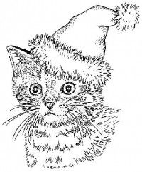 Cute Christmas Cat Coloring Page
